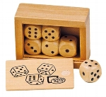 Box with 6 wooden dice