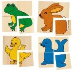 Karémo, puzzle et mémo, 5 animaux différents