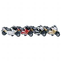 Motorroller mit Sirene + Licht, Spritzguss, L= 12,5 cm