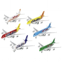 Airplane with light and sound, die-cast, L= 19 cm