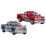 Police car and fire brigade Chevrolet Silverado, die-cast