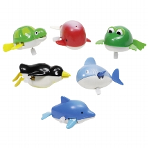 Water animals with wind-up motor