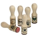 Assortment of wooden stamps, paw, star, mouth,heart,ok,smily