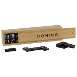 Domino game in wooden box