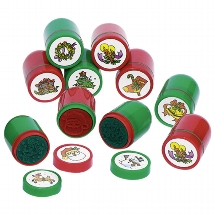Self-inking stamps with X-mas design, plastic
