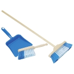 Plastic dustpan, handbroom and broom