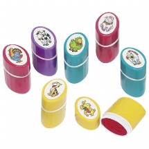 Self-inking stamps with animal motifs, plastic