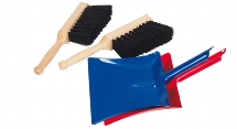 1 metal dustpan and 1 brush with synthetic bristles