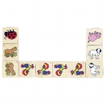 Animal domino game in wooden box