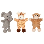 Hand puppets - giraffe, monkey, elephant  (with legs)