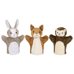 Hand puppets, squirrel, rabbit and hedgehog