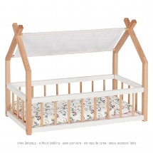 Doll bed with gable and textile roof