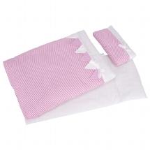 Bedding set for dolls, pink stripes