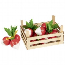 Radishes in vegetable crate