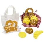 Toy shop miniatures, rolls, with cotton bag and basket,