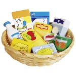 Toy shop miniatures in a basket, food and household goods