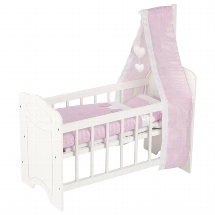 Doll´s bed with bedding and canopy