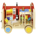 Construction site trailer for puppets with accessoires