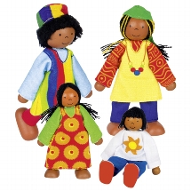 Flexible puppets African family