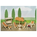 Dolls' house, garden furniture