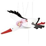 Stork with baby, swinging animal