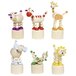 Animals, press 'n shake figures, Africa designs, wood