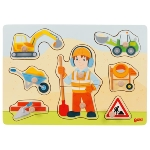 Lift-out puzzle construction worker