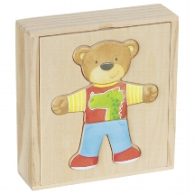 Little bear, dress up box, puzzle in a wooden box