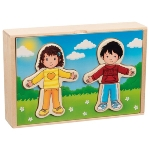 Boy and Girl dress-up puzzle box in a wooden box