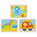 Einlegepuzzle Dino, Feuerwehr, Elefant