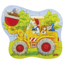 Konturpuzzle Traktor, Radlader, Feuerwehr, Holz,