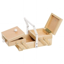 Sewing box with a white handle