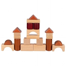 Building blocks in a wooden box