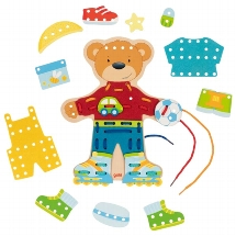 Threading bear with clothes