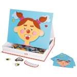 Magnetic game, funny faces girl