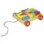 Pull-along cart with 18 building blocks, goki basic.