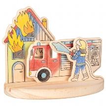 Ausmalbild aus Holz zum Aufstellen, Feuerwehr