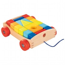 Pull-along cart with 20 building blocks