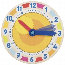 Clock with cog wheel - learn to tell the time