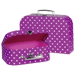 Suitcases purple with white dots