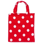 Small cotton bags with 2 handles, red with white dots