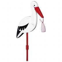 Flower decor stick Stork with baby cloth