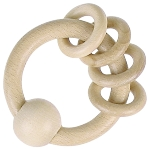Touch ring with 4 rings, natural wood