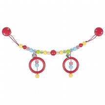 Pram chain bright coloured spotted beads with clips