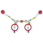 Pram chain red polka dot bead with clips