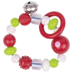 Touch ring elastic with pink striped bead