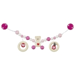 Pram chain heart bear, pink with clips
