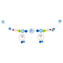 Pram chain elephant with clips, blue