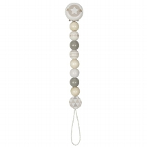 Soother chain star, grey