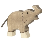 Elephant, small, trunk raised